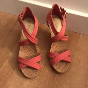 SoleSociety Pink Wedge Sandals